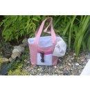 Strandtasche rosa/weiß